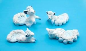 Alolan Vulpix clay figurines by Ailinn-Lein