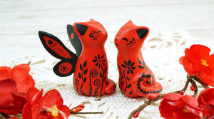 Red Floral Cats by Ailinn-Lein