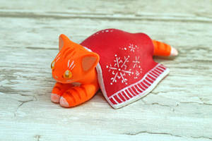 A Ginger Cat under a Blanket by Ailinn-Lein