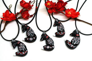 Black Fox Pendants by Ailinn-Lein