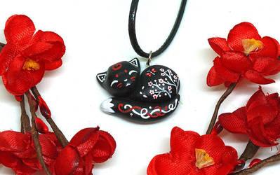 Black Sleeping Cat Pendant by Ailinn-Lein