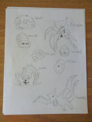 My Drawings: 1st Gen Fossil Pokemon by pokemonabsol