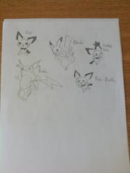 My Drawings: Pichu Evolutionary Line by pokemonabsol