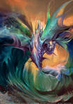 Aquatic element dragon by Pearlpencil