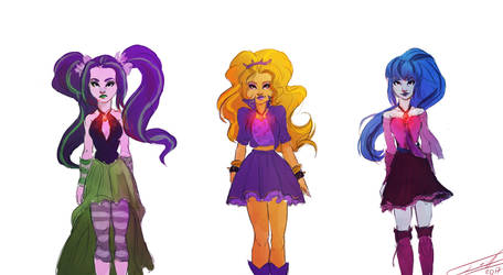 Dazzlings  - colored sketch (Redraw) by YummiestSeven65