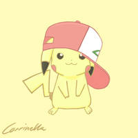 Pikachu - Ash's hat -Colored- by Corrinella