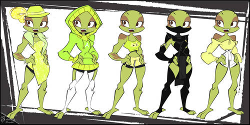 . [ RotTMNT OC ] . Aloy Outfit Chart board by S-ketchi
