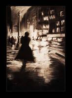 Rainy night by MsGolightly