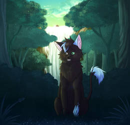 Gift | MintyCatwolfDA | Dawn in the forest by LULUVIP
