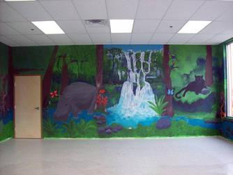 jungle mural by jazbeetle