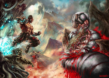 cyborg vs worm titan by paulobarrios