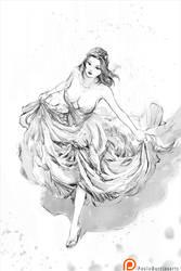 gala dress white sketch by paulobarrios