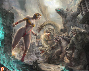 ULTRA MADAM vs GODZILLA AND FRIENDS by paulobarrios