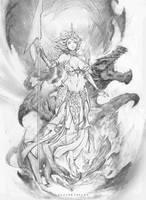 dragon girl sketch by paulobarrios