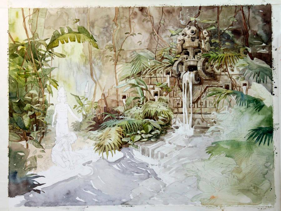 Junes waterfall WIP by Sidxartxa