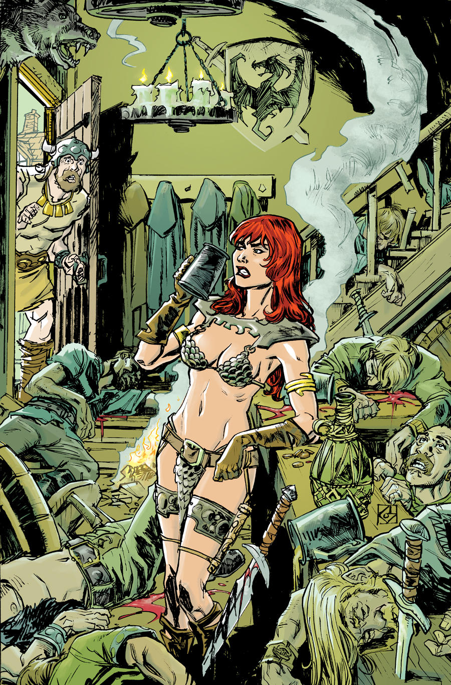 Red Sonja Happy Hour color by deankotz