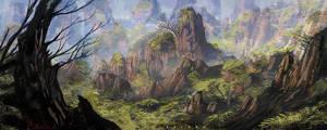 mountain forest by landobaldur