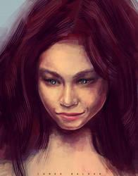 female character dark hair by landobaldur