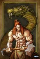 Thor vs. the Midgard Serpent by GavinMichelli