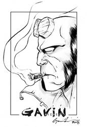 Hellboy Head Sketch by GavinMichelli