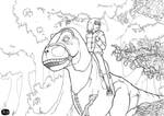 ridding the dinosaur lineArt by PinPastor
