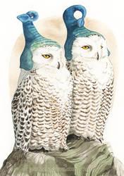 Strange Snowy Owls by GoldeenHerself