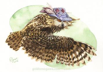 Strange Eurasian Eagle Owl by GoldeenHerself