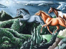 Night Horses Run by GoldeenHerself