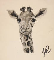 Giraffe pastels and watercolor by japoilski
