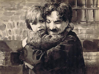 Moment from the movie The Kid (1921) by kalinatoneva