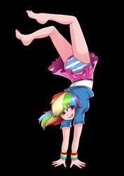 Rainbow dash doing a handstand by mariodashrko