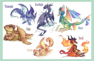 Wings of Fire Protagonists by Bedupolker