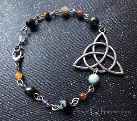 Triple Goddess Maiden Mother Crone Stone Bracelet by SpellsNSpooks