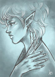 Elven Lady - Sketch by NaturallyLecherous