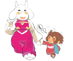 Undertale Toriel And Child by Tentakustar