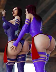 Psylocke: Old VS New 2 Bottoms Up! by rattoilet