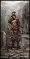 old warrior with a spear by czarnystefan