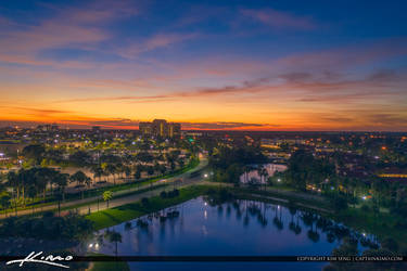 Palm-Beach-Gardens-Sunset-Over-Lake-Behind-Gardens by CaptainKimo