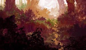 Path Between The Leaves by JackEavesArt
