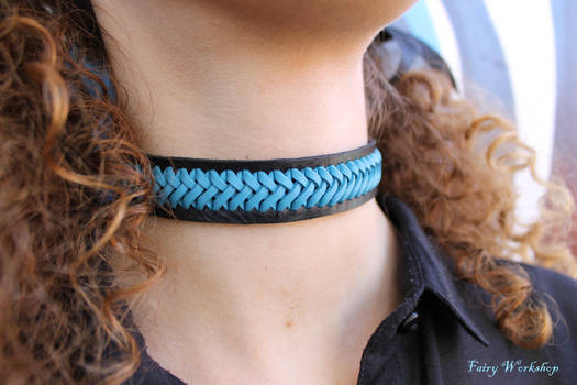 Laced leather choker 1 by FairyWorkshop