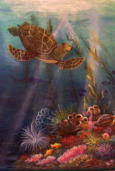 Underwater Turtle by grimmsguild