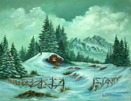 Snowy Cabin by grimmsguild