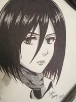 Mikasa Ackerman (Attack on Titan) [SKETCH] by JustinEugene