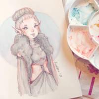 Sketch - Elvish Dark Priestess by Ninelyn