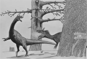 Glacialisaurus hammeri vs Cryolophosaurus ellioti by AcroSauroTaurus