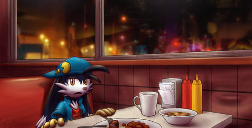 Klonoa at Cheap Diner by Dantofu