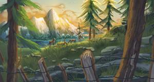 Horses landscape by BabaKinkin