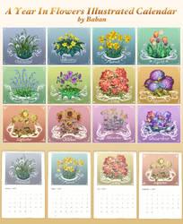 A Year in Flowers Calendar (Calendar Prints) by BabaKinkin