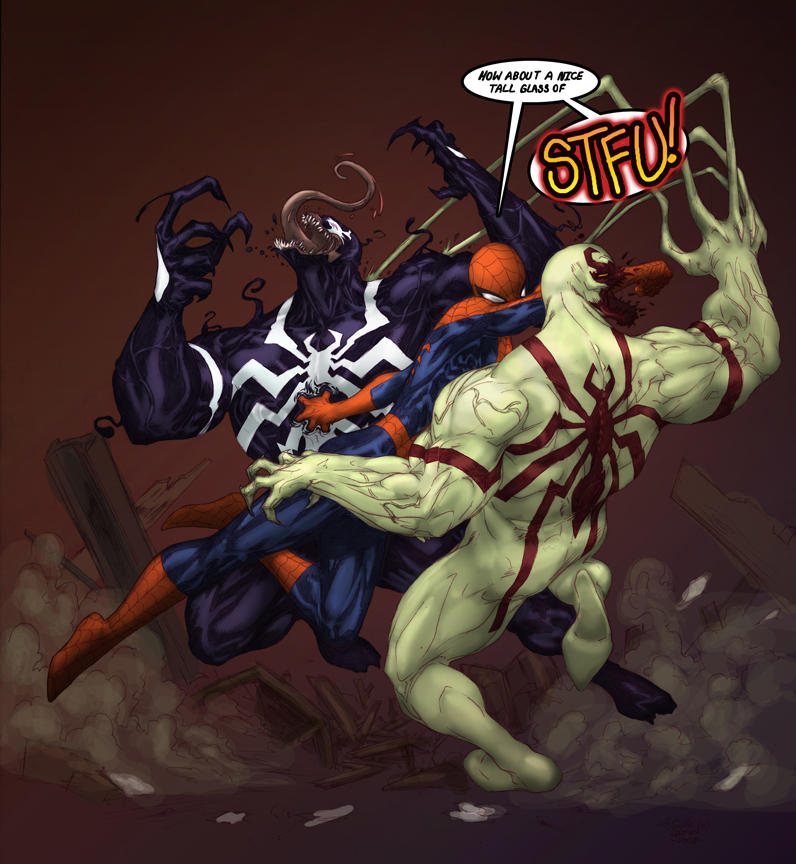 Spidey VS Venom VS Antivenom by DeadlyPancake on DeviantArt