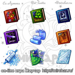 Mirchar item icons - New Year books and tickets by Si-Luetta